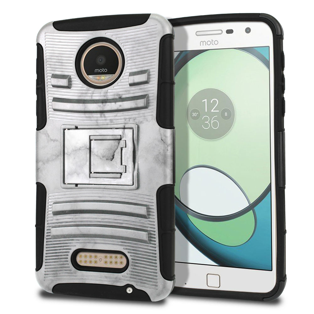 Motorola Moto Z Play Droid XT1635 Hybrid Rigid Stand Grey Cloudy Marble Protector Cover Case