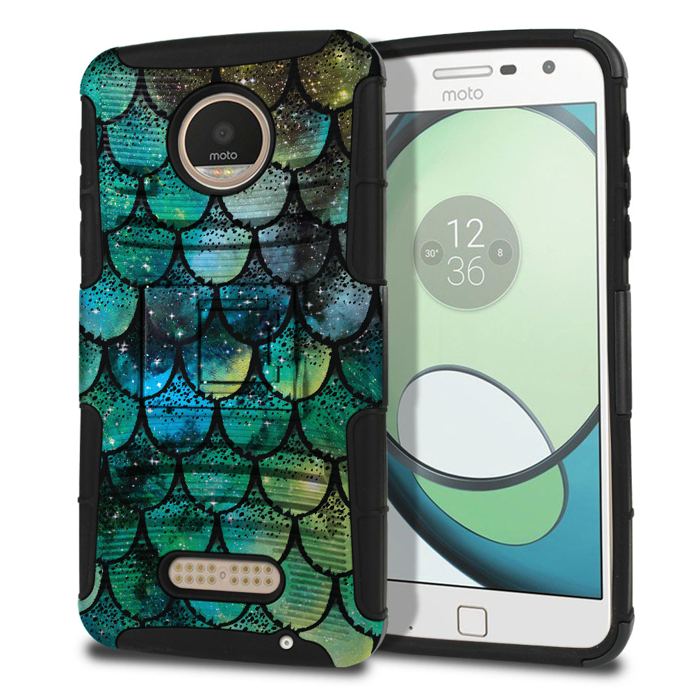 Motorola Moto Z Play Droid XT1635 Hybrid Rigid Stand Green Mermaid Scales Protector Cover Case