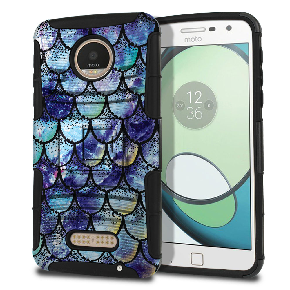 Motorola Moto Z Play Droid XT1635 Hybrid Rigid Stand Purple Mermaid Scales Protector Cover Case