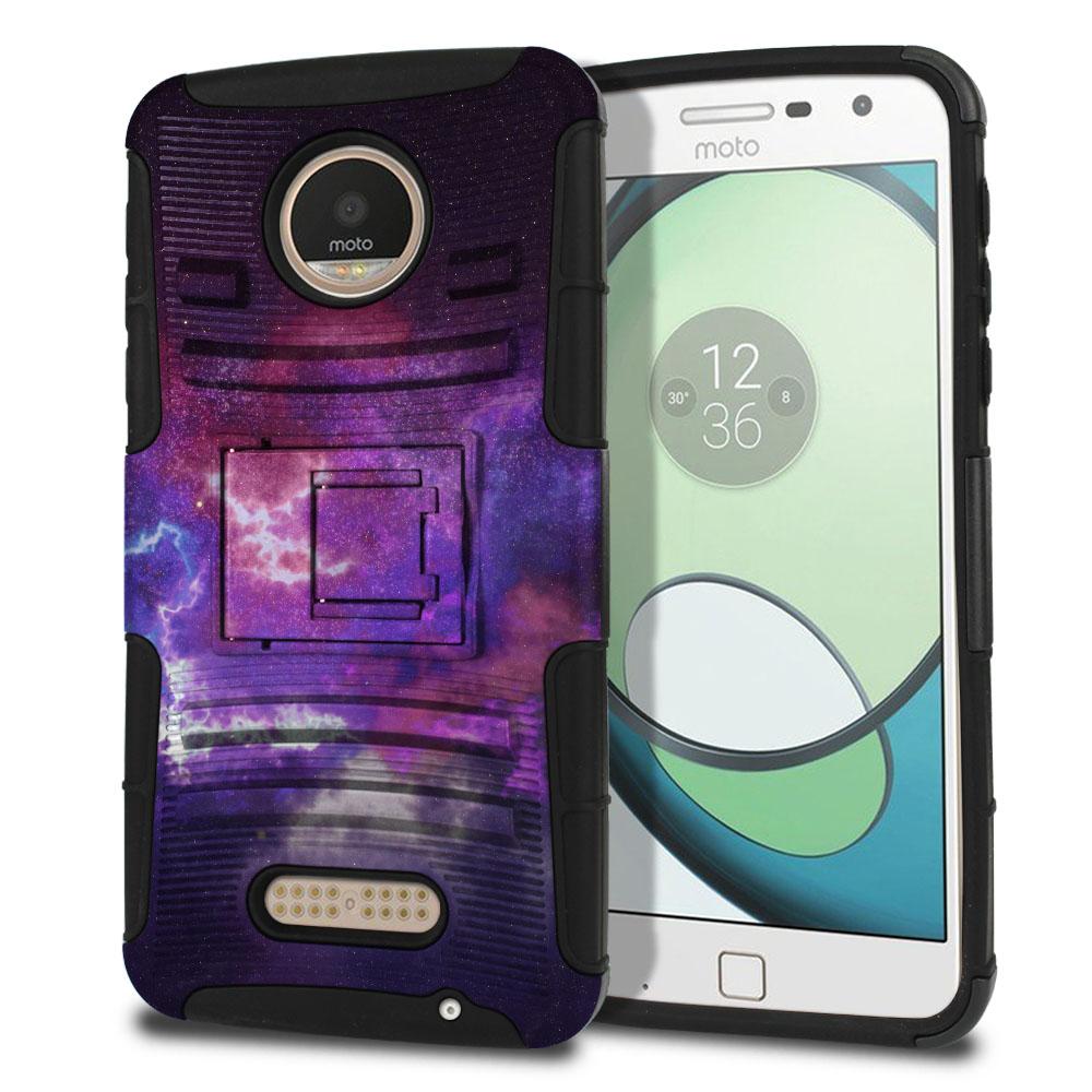Motorola Moto Z Play Droid XT1635 Hybrid Rigid Stand Purple Nebula Space Protector Cover Case