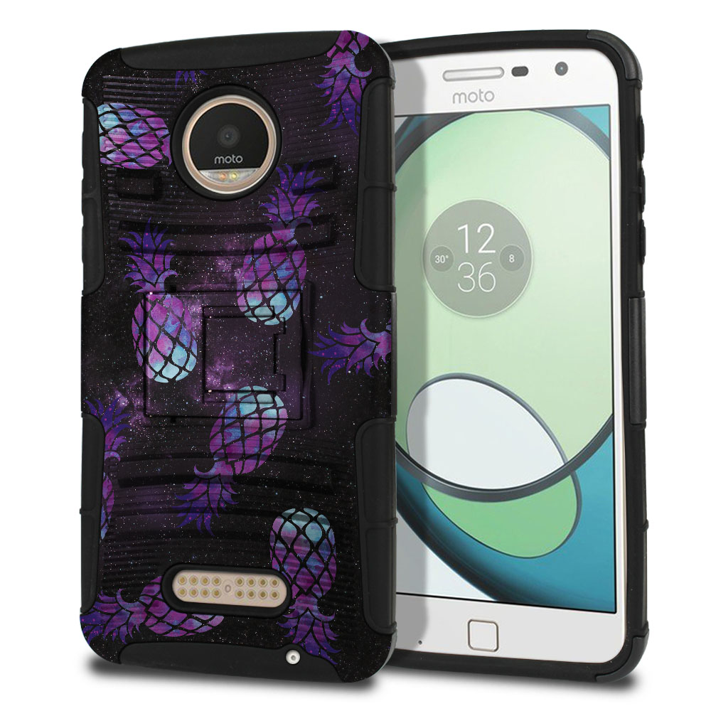 Motorola Moto Z Play Droid XT1635 Hybrid Rigid Stand Purple Pineapples Galaxy Protector Cover Case