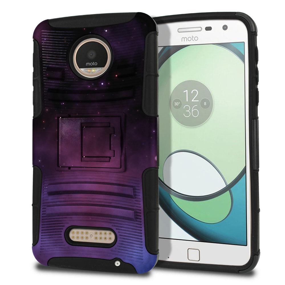 Motorola Moto Z Play Droid XT1635 Hybrid Rigid Stand Purple Space Stars Protector Cover Case