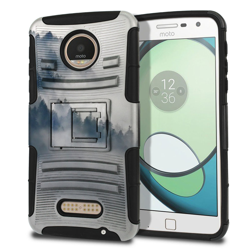 Motorola Moto Z Play Droid XT1635 Hybrid Rigid Stand Winter Trees Protector Cover Case