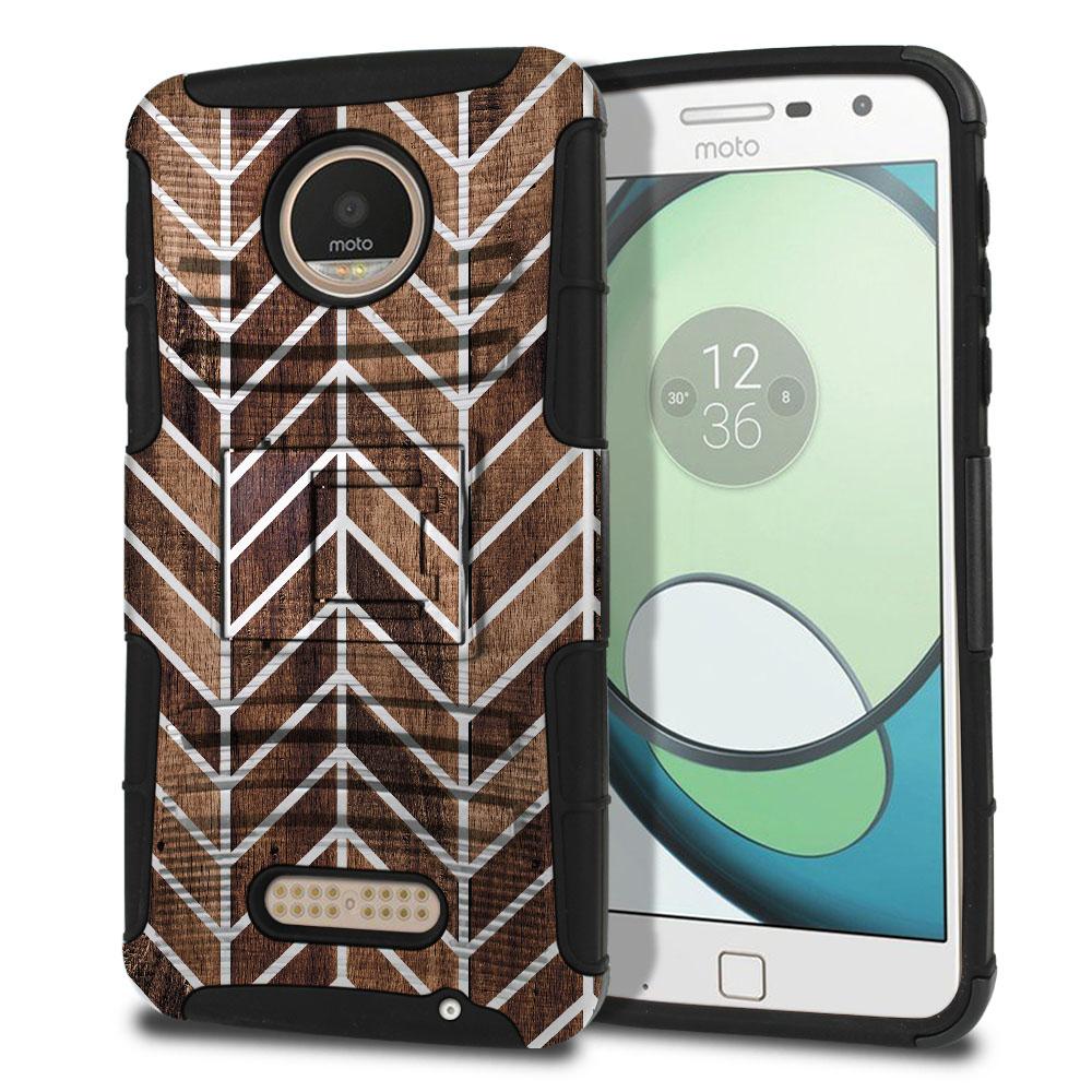 Motorola Moto Z Play Droid XT1635 Hybrid Rigid Stand Modern Chevron Wood Protector Cover Case