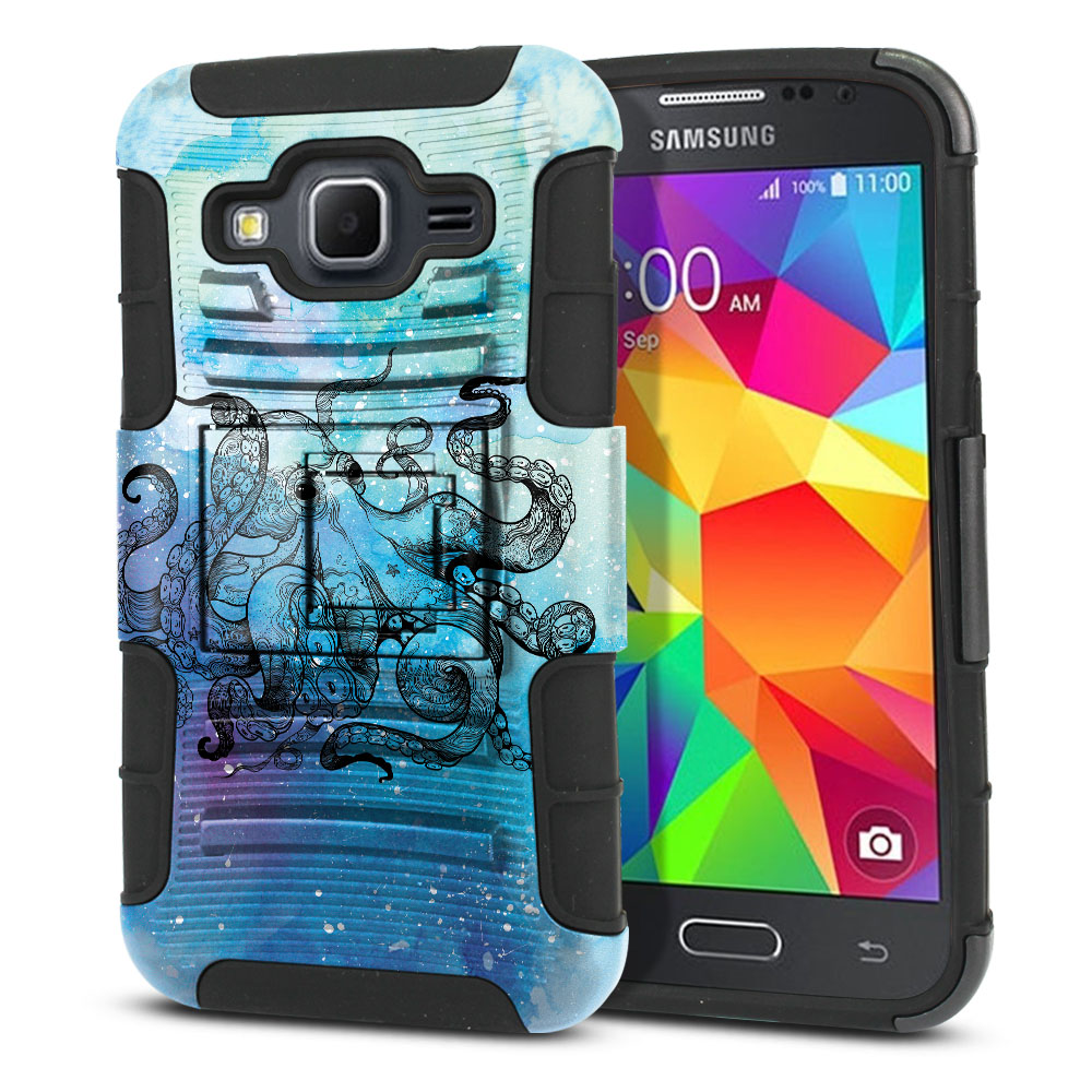Samsung Galaxy Core Prime G360 Hybrid Rigid Stand Blue Water Octopus Protector Cover Case