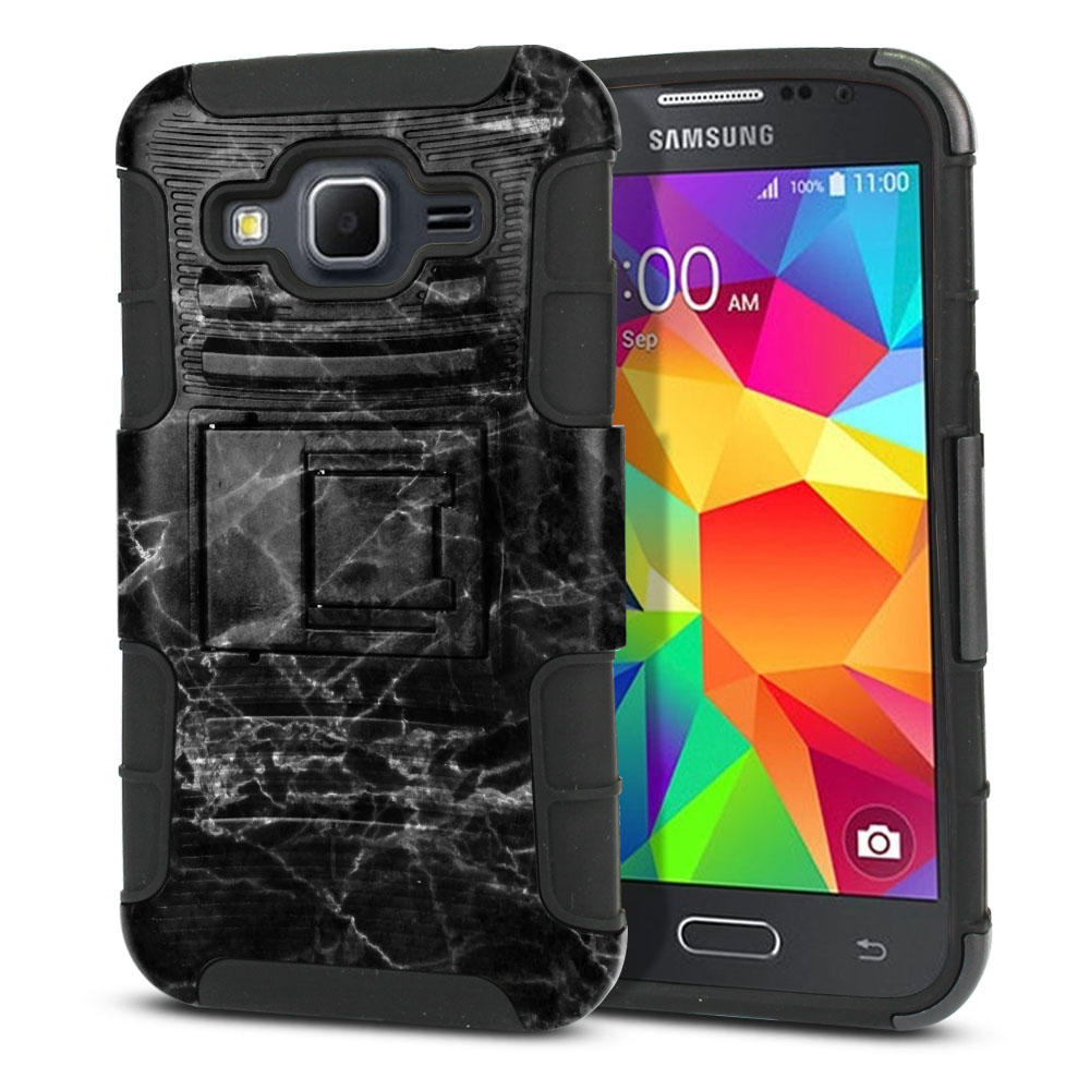 Samsung Galaxy Core Prime G360 Hybrid Rigid Stand Black Stone Marble Protector Cover Case