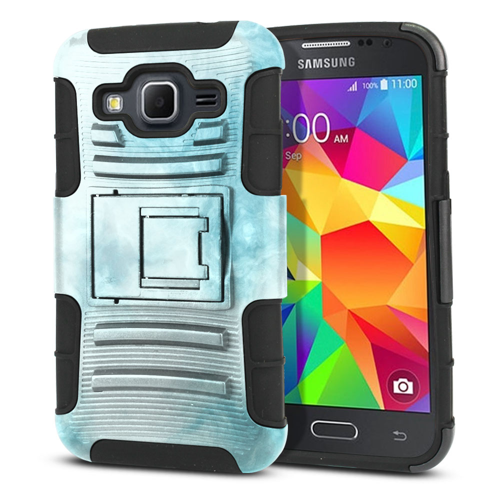 Samsung Galaxy Core Prime G360 Hybrid Rigid Stand Blue Cloudy Marble Protector Cover Case