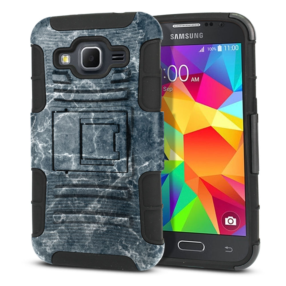 Samsung Galaxy Core Prime G360 Hybrid Rigid Stand Blue Stone Marble Protector Cover Case