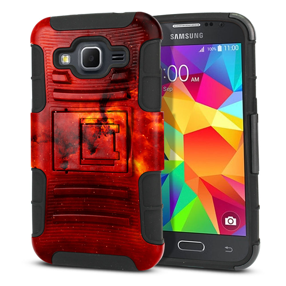 Samsung Galaxy Core Prime G360 Hybrid Rigid Stand Fiery Galaxy Protector Cover Case