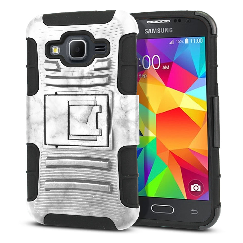 Samsung Galaxy Core Prime G360 Hybrid Rigid Stand Grey Cloudy Marble Protector Cover Case