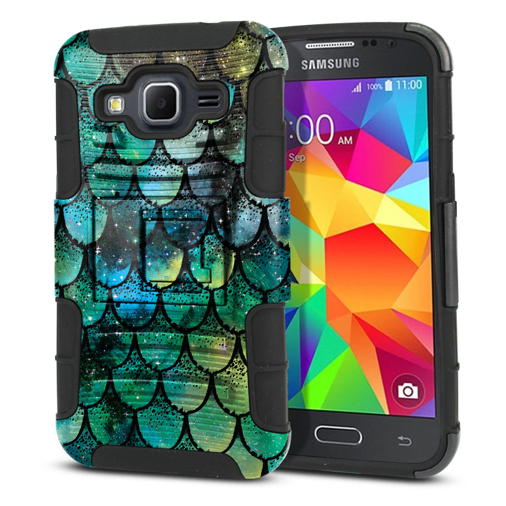 Samsung Galaxy Core Prime G360 Hybrid Rigid Stand Green Mermaid Scales Protector Cover Case