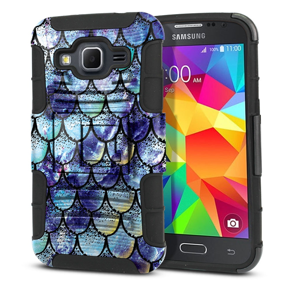 Samsung Galaxy Core Prime G360 Hybrid Rigid Stand Purple Mermaid Scales Protector Cover Case
