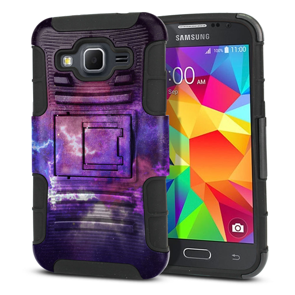Samsung Galaxy Core Prime G360 Hybrid Rigid Stand Purple Nebula Space Protector Cover Case