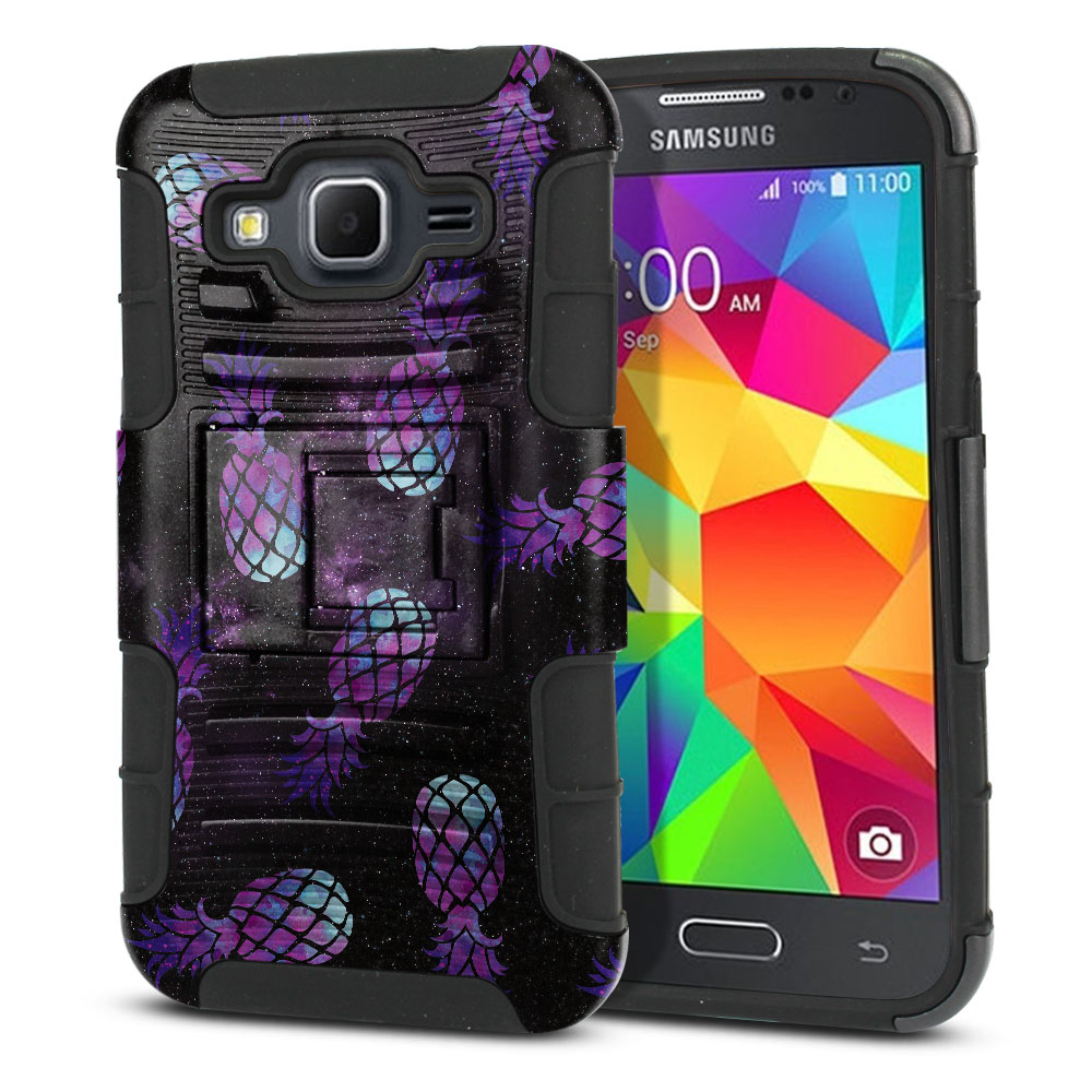 Samsung Galaxy Core Prime G360 Hybrid Rigid Stand Purple Pineapples Galaxy Protector Cover Case