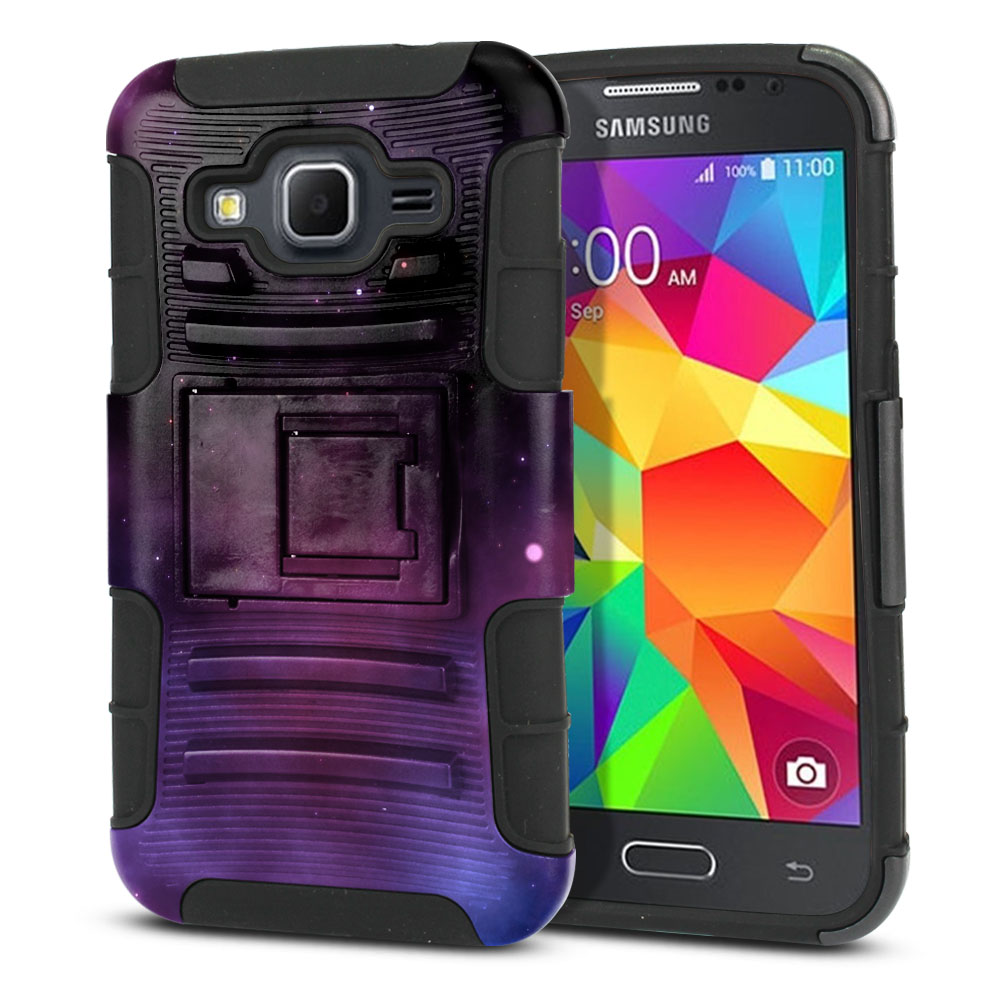 Samsung Galaxy Core Prime G360 Hybrid Rigid Stand Purple Space Stars Protector Cover Case