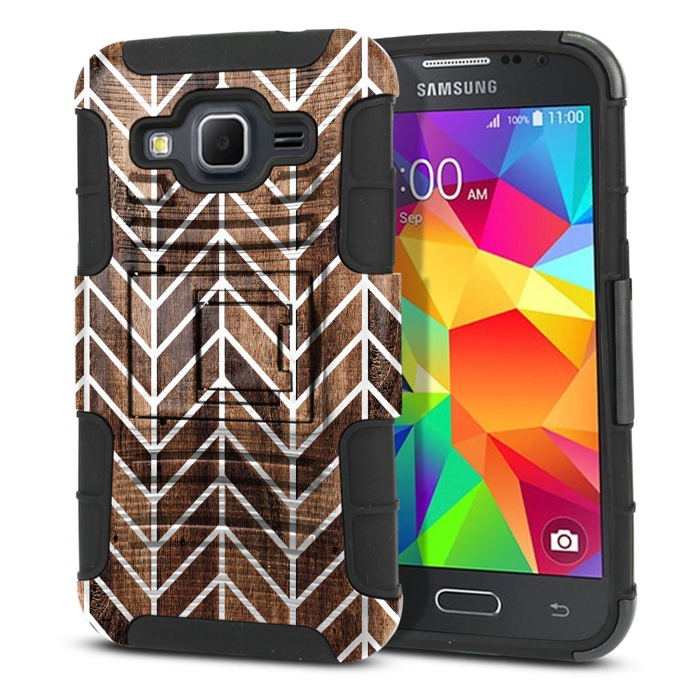 Samsung Galaxy Core Prime G360 Hybrid Rigid Stand Modern Chevron Wood Protector Cover Case