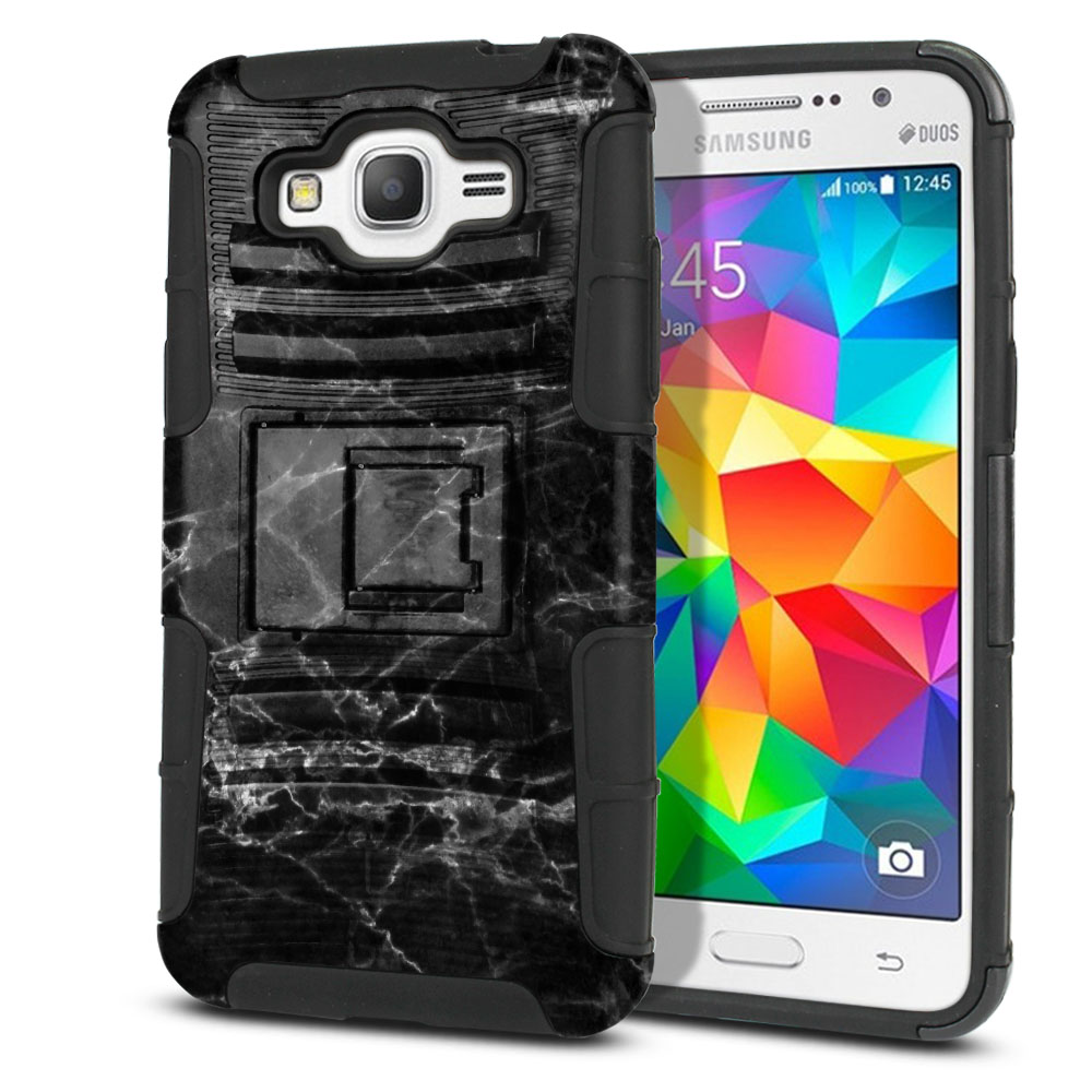 Samsung Galaxy Grand Prime G530 Hybrid Rigid Stand Black Stone Marble Protector Cover Case