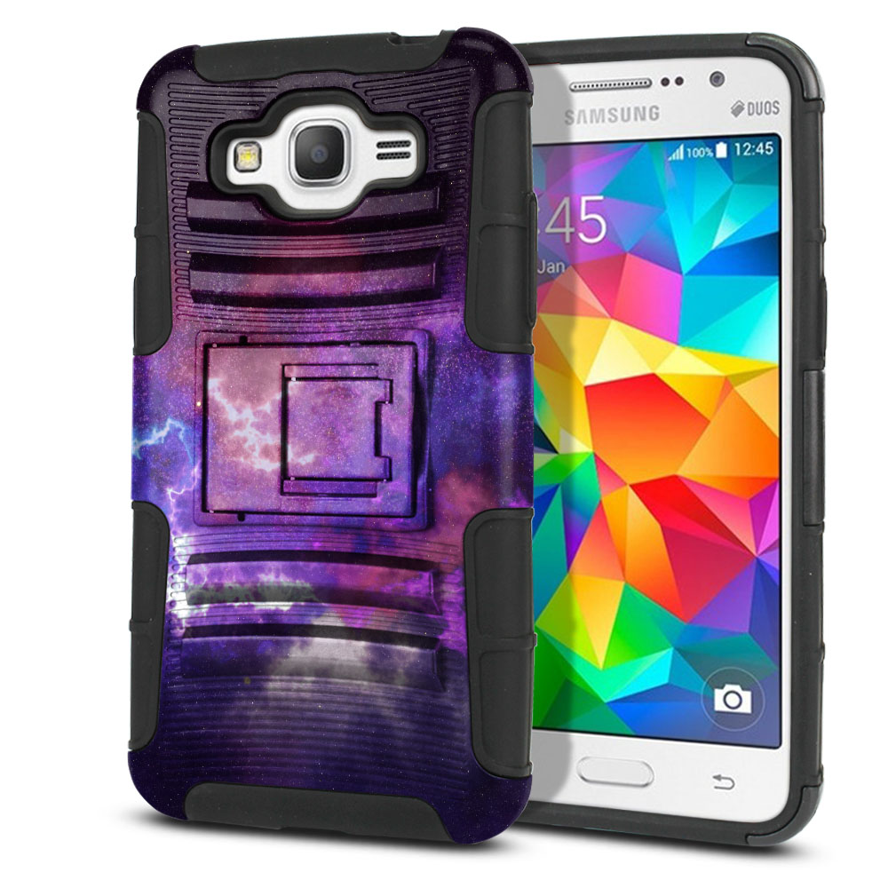 Samsung Galaxy Grand Prime G530 Hybrid Rigid Stand Purple Nebula Space Protector Cover Case
