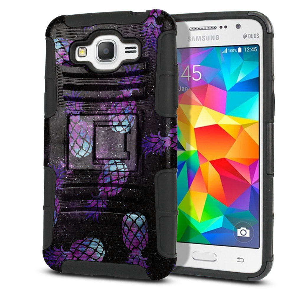 Samsung Galaxy Grand Prime G530 Hybrid Rigid Stand Purple Pineapples Galaxy Protector Cover Case