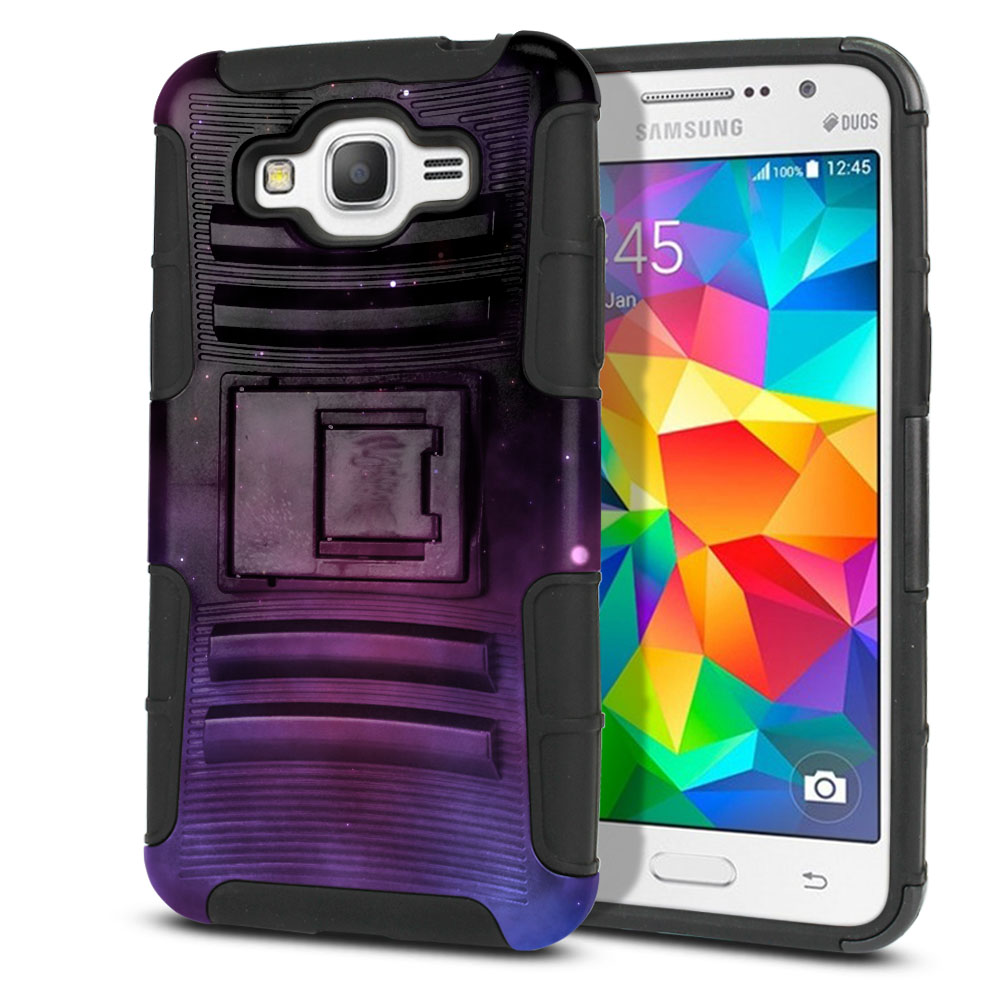 Samsung Galaxy Grand Prime G530 Hybrid Rigid Stand Purple Space Stars Protector Cover Case
