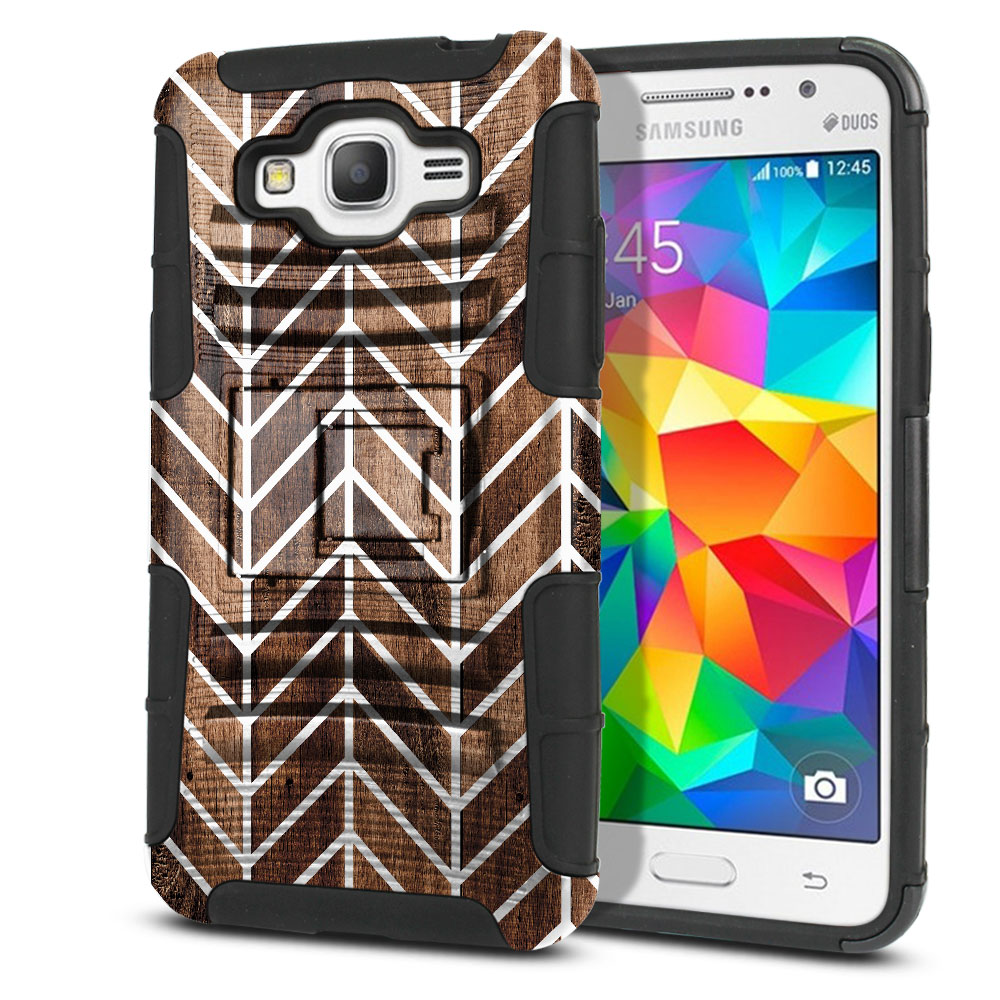 Samsung Galaxy Grand Prime G530 Hybrid Rigid Stand Modern Chevron Wood Protector Cover Case