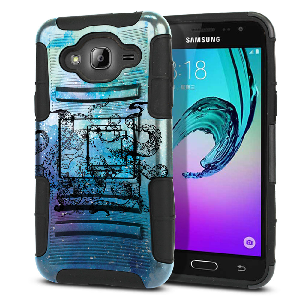 Samsung Galaxy J3 J310 J320 (Not fit for J3 Emerge J327 2017, J3 Pro 2017) Hybrid Rigid Stand Blue Water Octopus Protector Cover Case