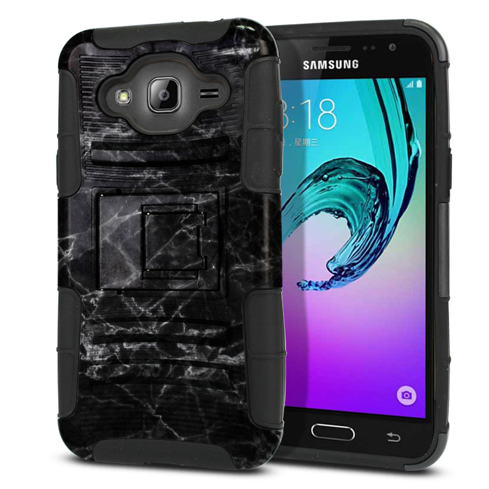 Samsung Galaxy J3 J310 J320 (Not fit for J3 Emerge J327 2017, J3 Pro 2017) Hybrid Rigid Stand Black Stone Marble Protector Cover Case