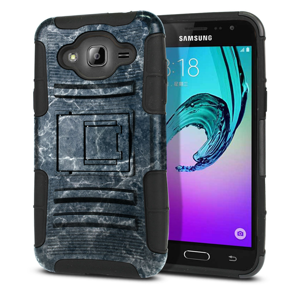 Samsung Galaxy J3 J310 J320 (Not fit for J3 Emerge J327 2017, J3 Pro 2017) Hybrid Rigid Stand Blue Stone Marble Protector Cover Case