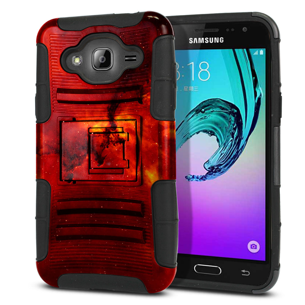Samsung Galaxy J3 J310 J320 (Not fit for J3 Emerge J327 2017, J3 Pro 2017) Hybrid Rigid Stand Fiery Galaxy Protector Cover Case