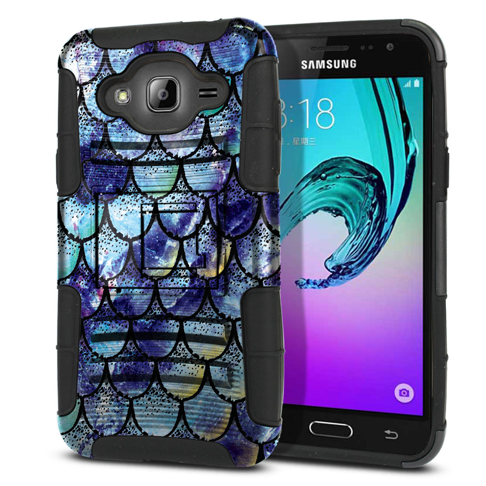 Samsung Galaxy J3 J310 J320 (Not fit for J3 Emerge J327 2017, J3 Pro 2017) Hybrid Rigid Stand Purple Mermaid Scales Protector Cover Case