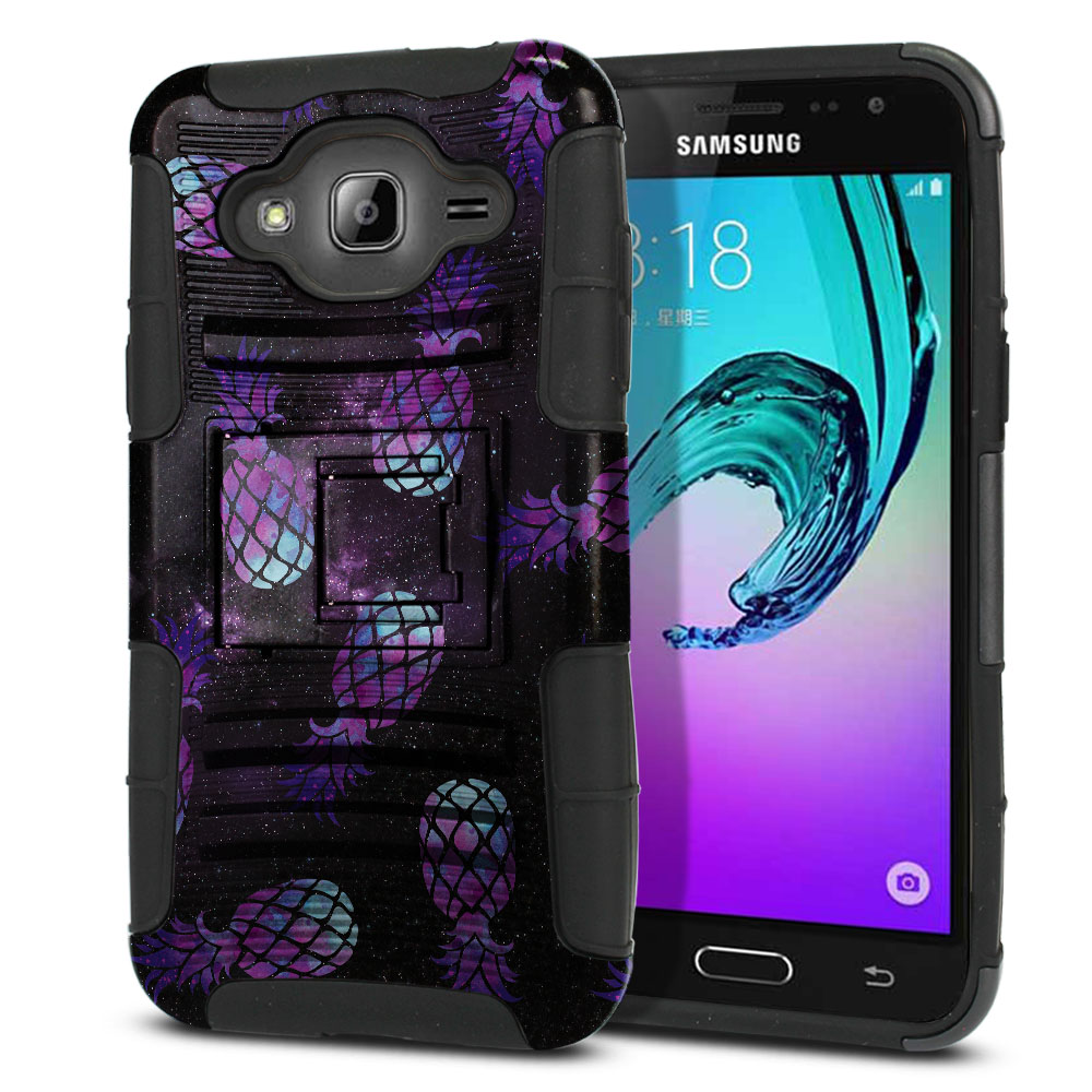 Samsung Galaxy J3 J310 J320 (Not fit for J3 Emerge J327 2017, J3 Pro 2017) Hybrid Rigid Stand Purple Pineapples Galaxy Protector Cover Case