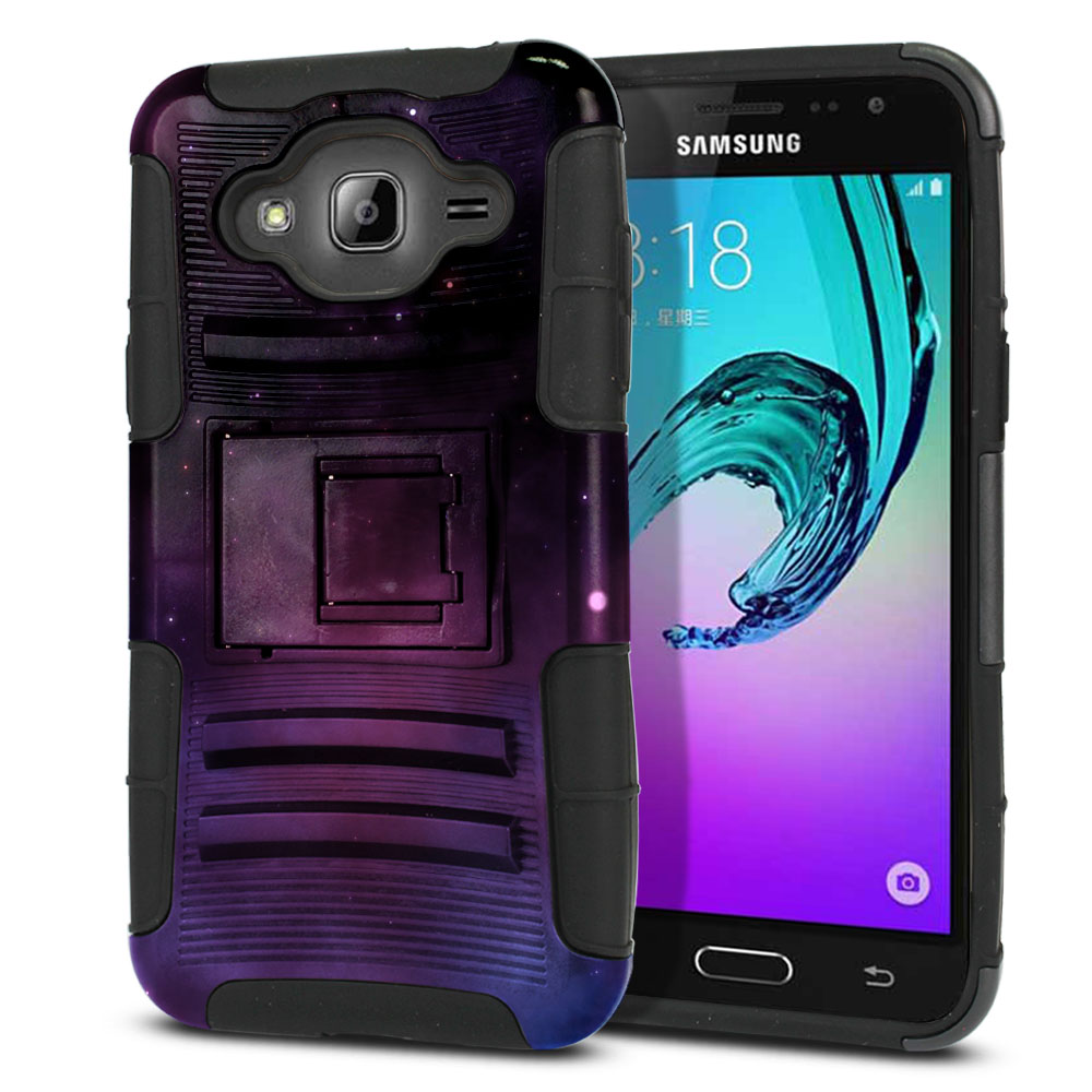 Samsung Galaxy J3 J310 J320 (Not fit for J3 Emerge J327 2017, J3 Pro 2017) Hybrid Rigid Stand Purple Space Stars Protector Cover Case