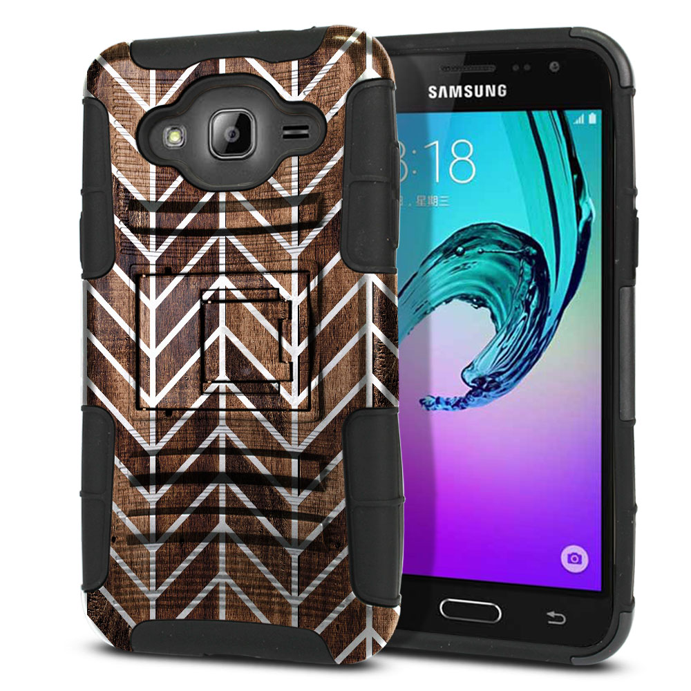 Samsung Galaxy J3 J310 J320 (Not fit for J3 Emerge J327 2017, J3 Pro 2017) Hybrid Rigid Stand Modern Chevron Wood Protector Cover Case