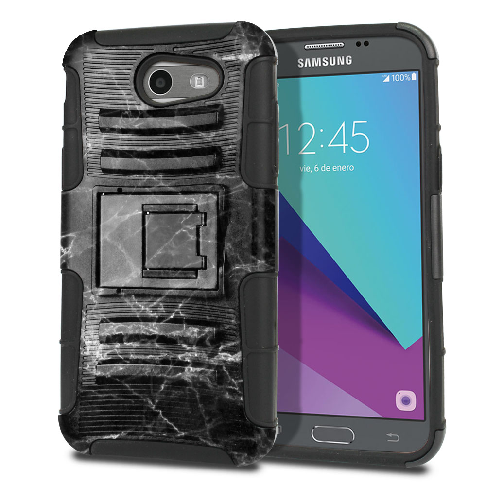 Samsung Galaxy J3 J327 2017 2nd Gen (Not fit for J3 2016, J3 Pro 2017) Hybrid Rigid Stand Black Stone Marble Protector Cover Case