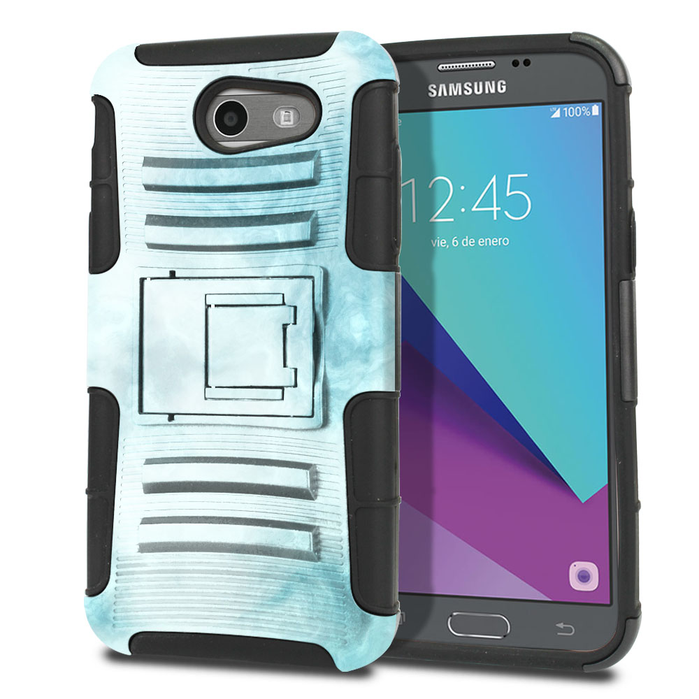 Samsung Galaxy J3 J327 2017 2nd Gen (Not fit for J3 2016, J3 Pro 2017) Hybrid Rigid Stand Blue Cloudy Marble Protector Cover Case
