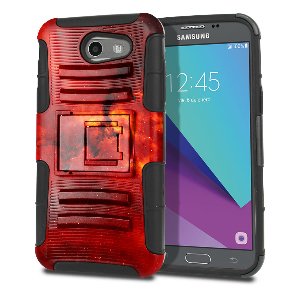 Samsung Galaxy J3 J327 2017 2nd Gen (Not fit for J3 2016, J3 Pro 2017) Hybrid Rigid Stand Fiery Galaxy Protector Cover Case