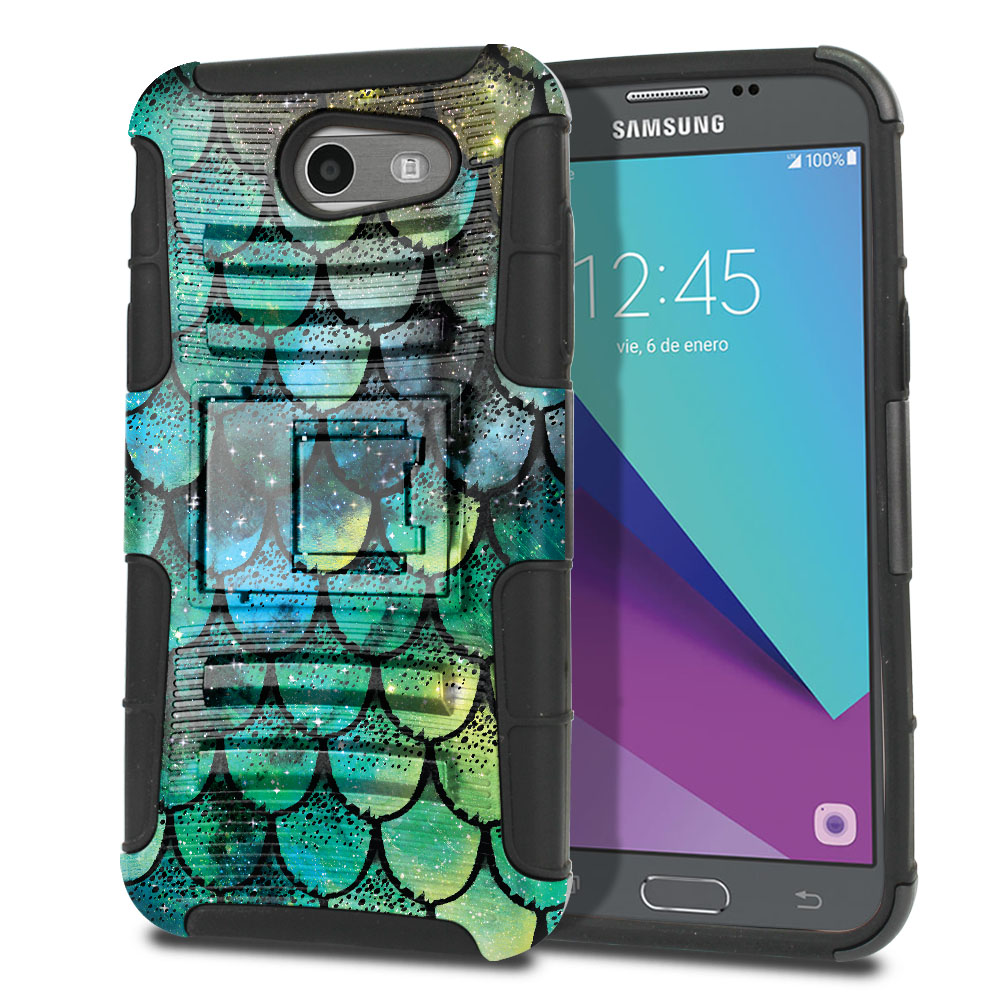 Samsung Galaxy J3 J327 2017 2nd Gen (Not fit for J3 2016, J3 Pro 2017) Hybrid Rigid Stand Green Mermaid Scales Protector Cover Case