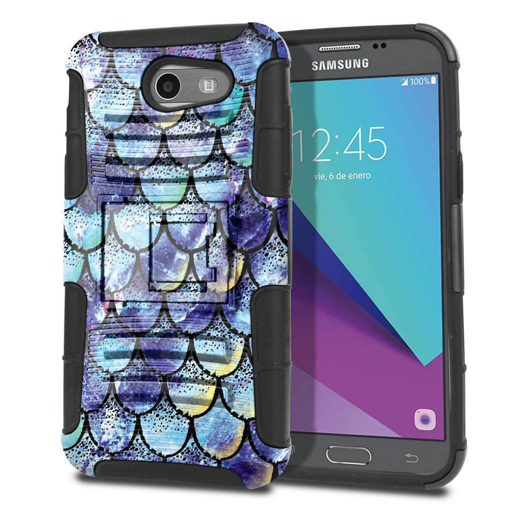 Samsung Galaxy J3 J327 2017 2nd Gen (Not fit for J3 2016, J3 Pro 2017) Hybrid Rigid Stand Purple Mermaid Scales Protector Cover Case