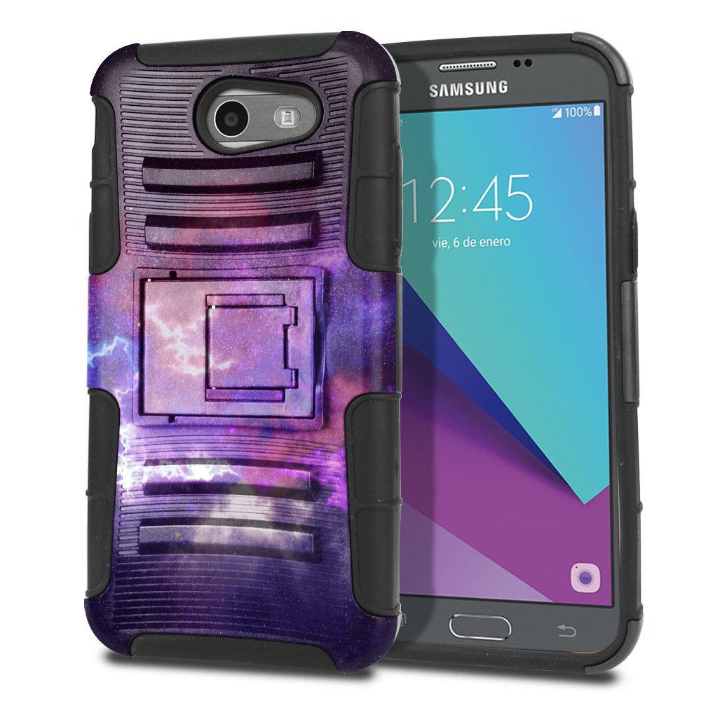 Samsung Galaxy J3 J327 2017 2nd Gen (Not fit for J3 2016, J3 Pro 2017) Hybrid Rigid Stand Purple Nebula Space Protector Cover Case