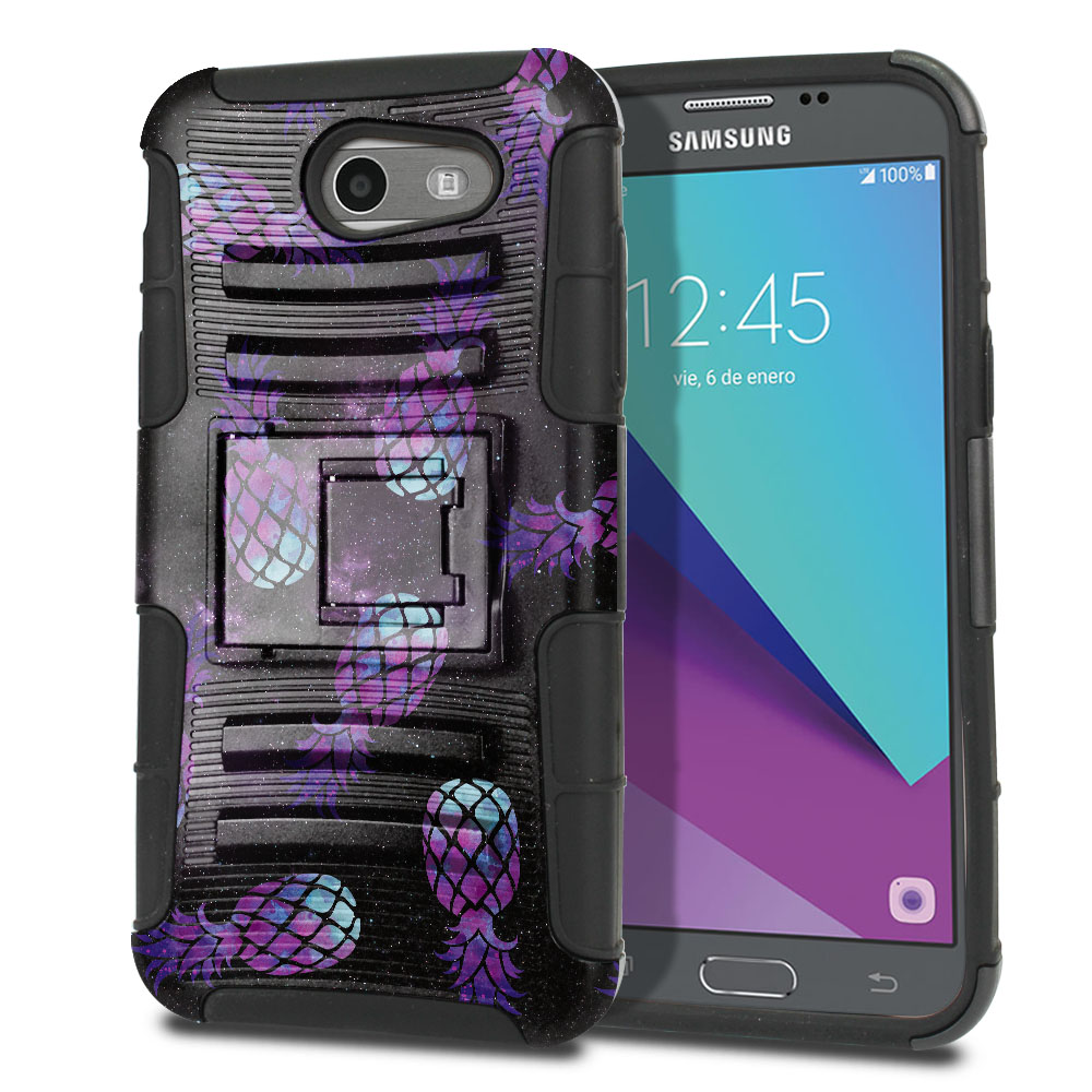 Samsung Galaxy J3 J327 2017 2nd Gen (Not fit for J3 2016, J3 Pro 2017) Hybrid Rigid Stand Purple Pineapples Galaxy Protector Cover Case