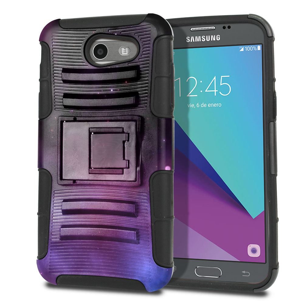 Samsung Galaxy J3 J327 2017 2nd Gen (Not fit for J3 2016, J3 Pro 2017) Hybrid Rigid Stand Purple Space Stars Protector Cover Case