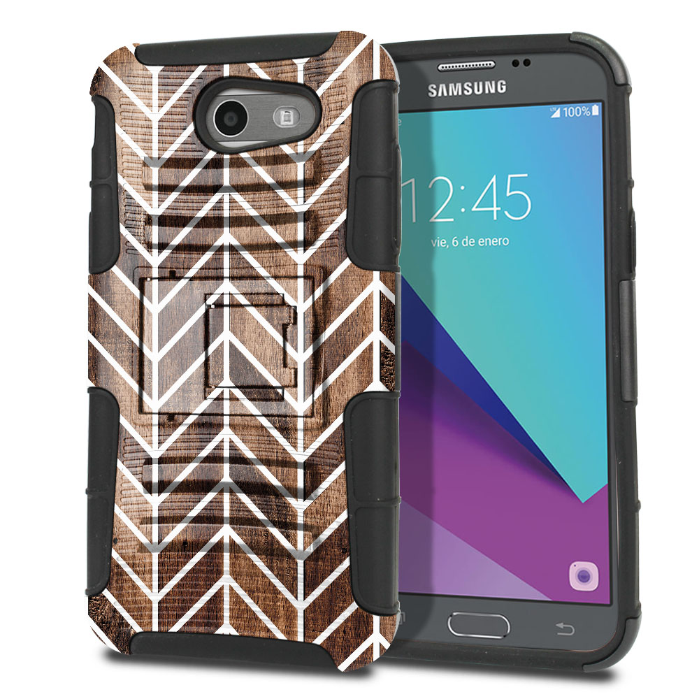 Samsung Galaxy J3 J327 2017 2nd Gen (Not fit for J3 2016, J3 Pro 2017) Hybrid Rigid Stand Modern Chevron Wood Protector Cover Case
