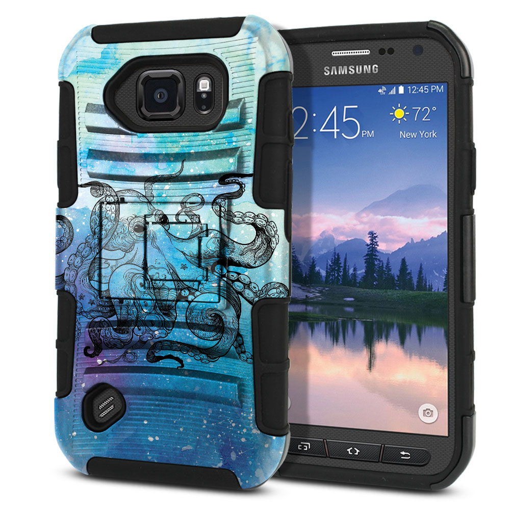 Samsung Galaxy S6 Active G890 Hybrid Rigid Stand Blue Water Octopus Protector Cover Case
