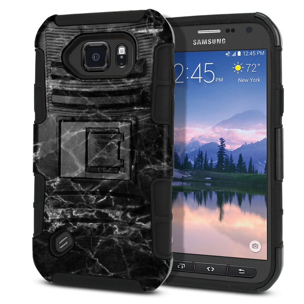 Samsung Galaxy S6 Active G890 Hybrid Rigid Stand Black Stone Marble Protector Cover Case
