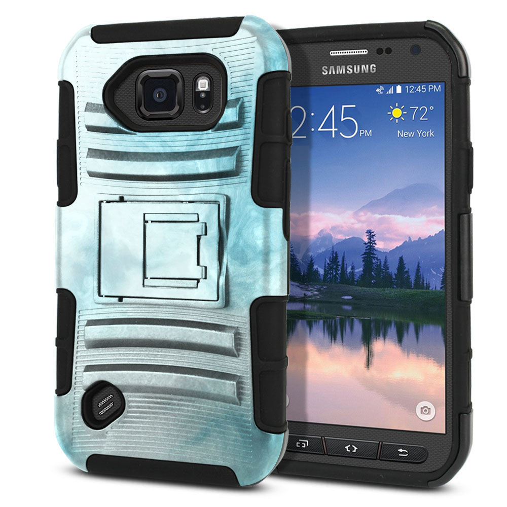 Samsung Galaxy S6 Active G890 Hybrid Rigid Stand Blue Cloudy Marble Protector Cover Case