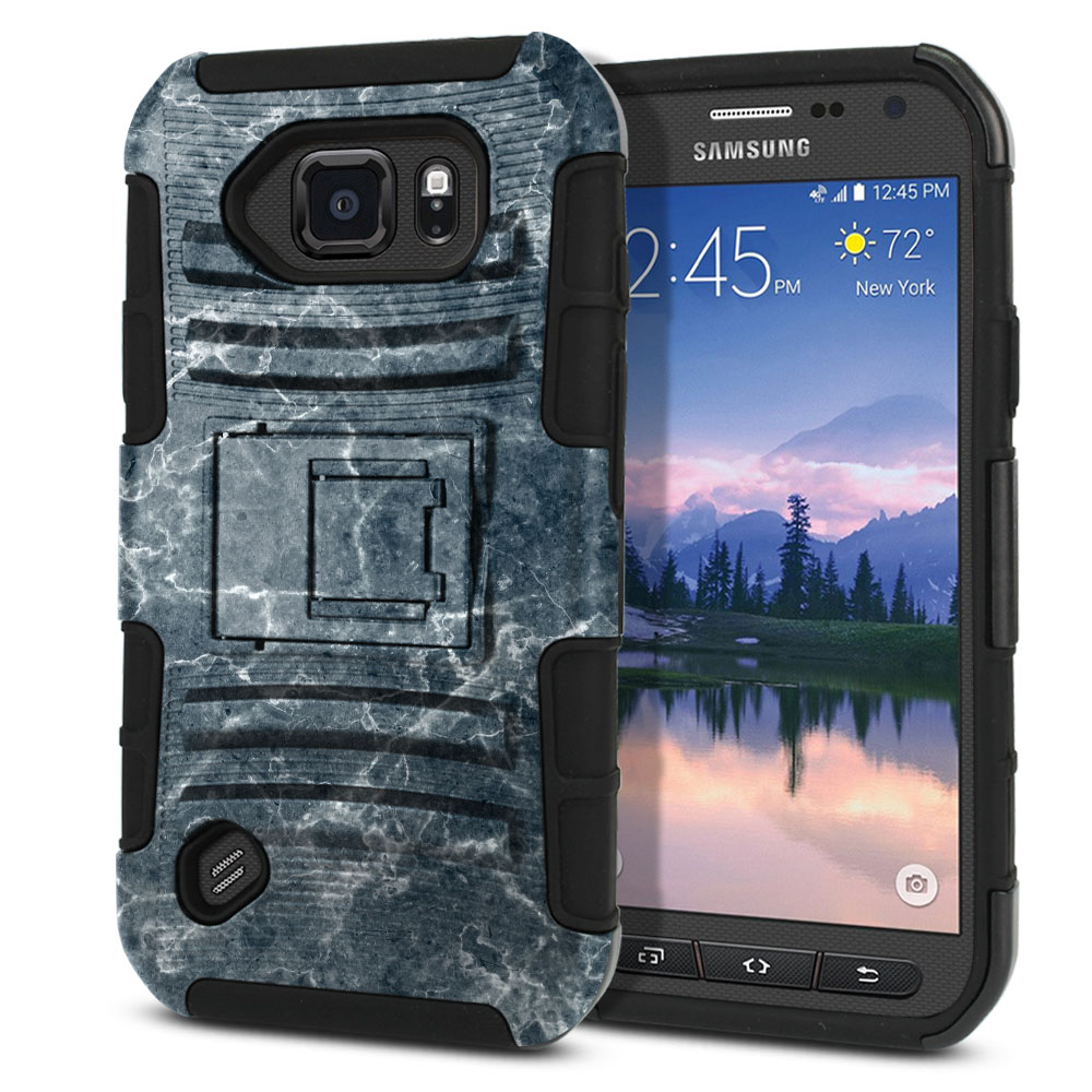 Samsung Galaxy S6 Active G890 Hybrid Rigid Stand Blue Stone Marble Protector Cover Case
