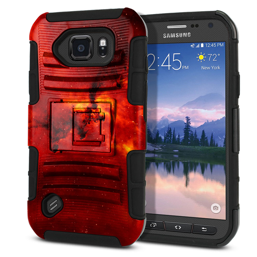 Samsung Galaxy S6 Active G890 Hybrid Rigid Stand Fiery Galaxy Protector Cover Case