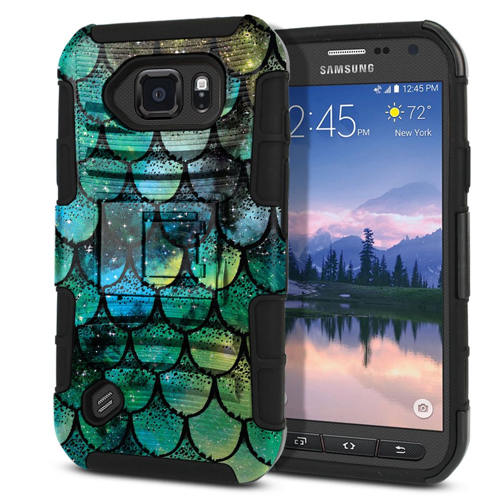 Samsung Galaxy S6 Active G890 Hybrid Rigid Stand Green Mermaid Scales Protector Cover Case
