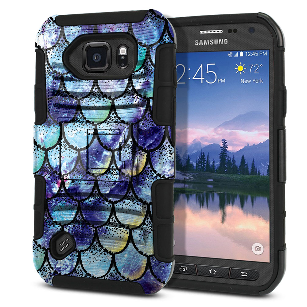 Samsung Galaxy S6 Active G890 Hybrid Rigid Stand Purple Mermaid Scales Protector Cover Case