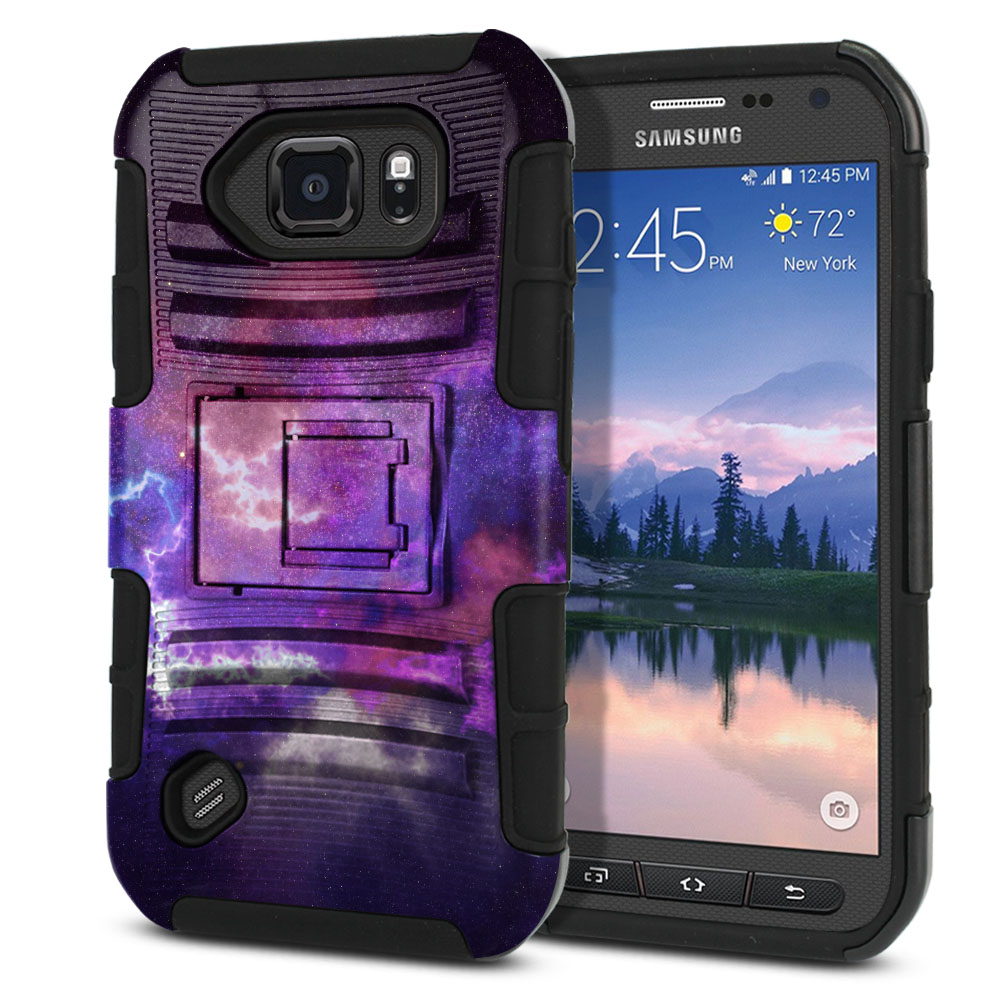 Samsung Galaxy S6 Active G890 Hybrid Rigid Stand Purple Nebula Space Protector Cover Case